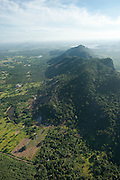 Aerial view of rice fields and a mountain ridge covered in jungle. East of Dambulla