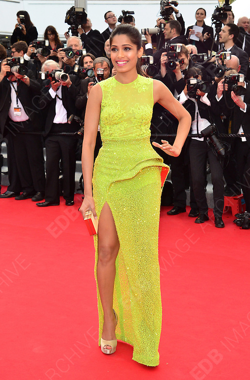 17.MAY.2012. CANNES<br /> <br /> FREIDA PINTO ATTENDS THE PREMIERE OF ROUILLE ET DOS AT THE PALAIS DE FESTIVAL IN CANNES DURING THE 65TH CANNES FILM FESTIVAL<br /> <br /> BYLINE: JO ALVAREZ/EDBIMAGEARCHIVE.COM<br /> <br /> *THIS IMAGE IS STRICTLY FOR UK NEWSPAPERS AND MAGAZINES ONLY*<br /> *FOR WORLD WIDE SALES AND WEB USE PLEASE CONTACT EDBIMAGEARCHIVE - 0208 954 5968*