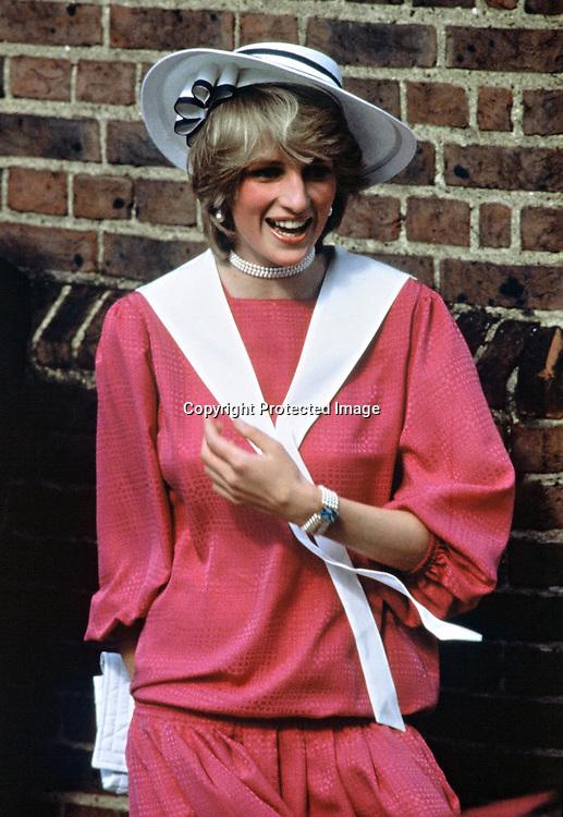 A 1982 photo of Princess Diana at the wedding of Carolyn Pride and William Bartholomew's wedding.  03/09/1982