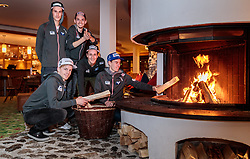 18.01.2018, Team Hotel, Oberstdorf, GER, FIS Skiflug Weltmeisterschaft, im Bild die Österreichischen Skispringer Florian Altenburger, Michael Hayboeck, Manuel Poppinger, Clemens Aigner, Stefan Kraft vor dem Kaminofen // the Austrian ski jumpers Florian Altenburger, Michael Hayboeck, Manuel Poppinger, Clemens Aigner and Stefan Kraft in front of a stove before the FIS Ski Flying World Championships at the Team Hotel in Oberstdorf, Germany on 2018/01/18. EXPA Pictures © 2018, PhotoCredit: EXPA/ JFK