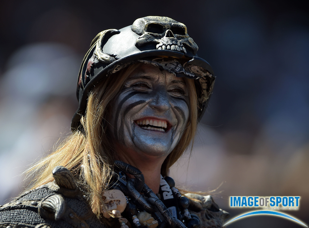 Sep 20, 2015; Oakland, CA, USA; Oakland Raiders fans react during the game against the Baltimore Ravens at O.co Coliseum.