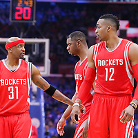 14 May 2015: Houston Rockets guard Jason Terry (31) is seen next to Houston Rockets forward Terrence Jones (6) and Houston Rockets center Dwight Howard (12) during the Houston Rockets 119-107 victory over the Los Angeles Clippers, in game 6 of the Western Conference semifinals, at the Staples Center, Los Angeles, California, USA.