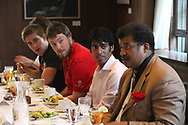 The Wisconsin Union is home of the Wisconsin Union Directorate student programming.  WUD students enjoy a meal with Distinguished Lecture Series 2012 speaker, Neil deGrasse Tyson.  Students pictured include Martin Feehaan (left, red shirt) and Steven Olikara (center).