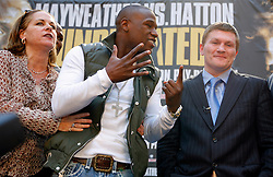 September 19, 2007; New York, NY, USA; World Welterweight Champion Floyd Mayweather Jr (l) tells World Junior Welterweight Champion Ricky Hatton (r) just how many world titles he's won at the press conference announcing their December 8, 2007 fight.  The fight will take place at the MGM Grand Garden Arena in Las Vegas, Nevada.