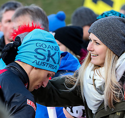 17.12.2016, Nordische Arena, Ramsau, AUT, FIS Weltcup Nordische Kombination, Langlauf, im Bild David Pommer (AUT) mit Freundin im Ziel // David Pommer of Austria with his girlfriend in the finish area during Cross Country Competition of FIS Nordic Combined World Cup, at the Nordic Arena in Ramsau, Austria on 2016/12/17. EXPA Pictures © 2016, PhotoCredit: EXPA/ Martin Huber