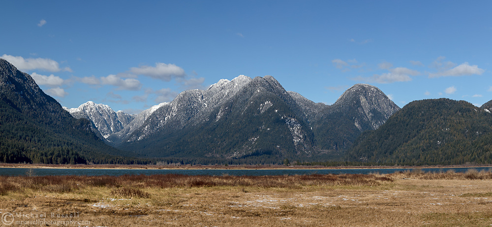 The Pitt River and the Widegon Valley in the Coast Mountains (Pacific Ranges) of British Columbia.  Photographed from Smohk'wa Marsh in Pitt Meadows, British Columbia, Canada.