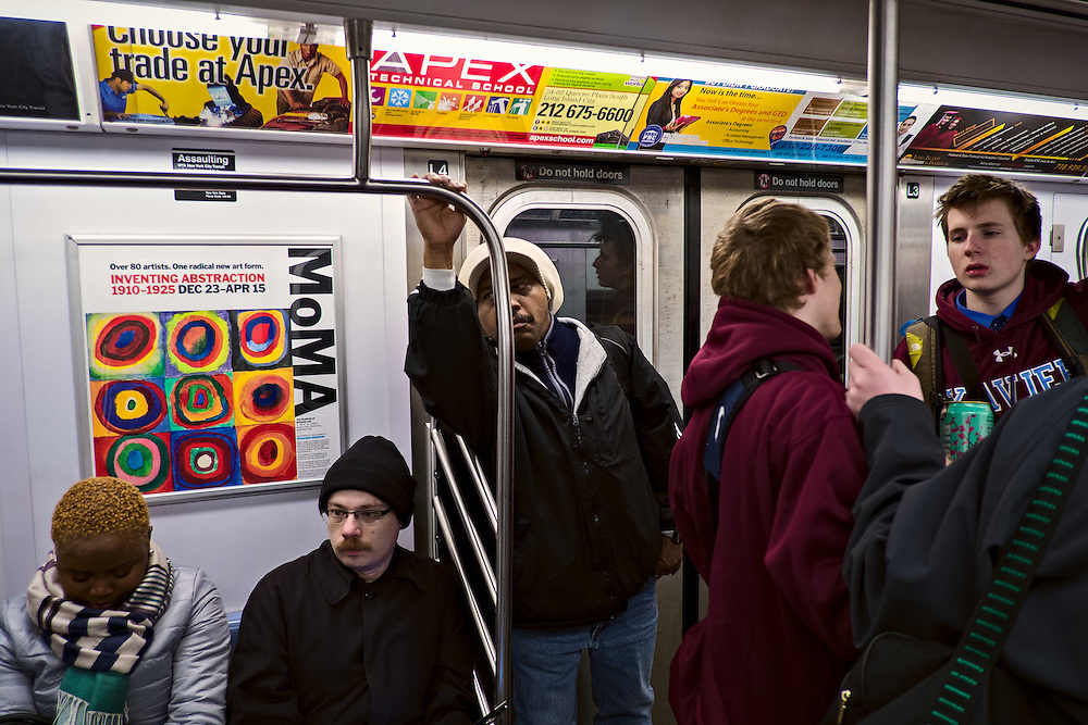 Teens and adults on subway