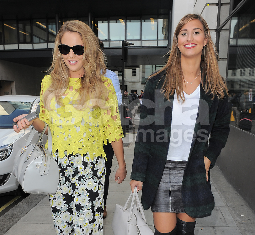 TOWIE stars Lydia Bright and Ferne McCann leaving BBC Radio 1 in central London, UK. 03/10/2014<br />