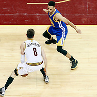 10 June 2016: Golden State Warriors guard Stephen Curry (30) defends on Cleveland Cavaliers guard Matthew Dellavedova (8) during the Golden State Warriors 108-97 victory over the Cleveland Cavaliers, during Game Four of the 2016 NBA Finals at the Quicken Loans Arena, Cleveland, Ohio, USA.