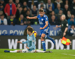 John Stones of Manchester City (L) blocks a shot from Marc Albrighton of Leicester City - Mandatory by-line: Jack Phillips/JMP - 26/12/2018 - FOOTBALL - King Power Stadium - Leicester, England - Leicester City v Manchester City - English Premier League