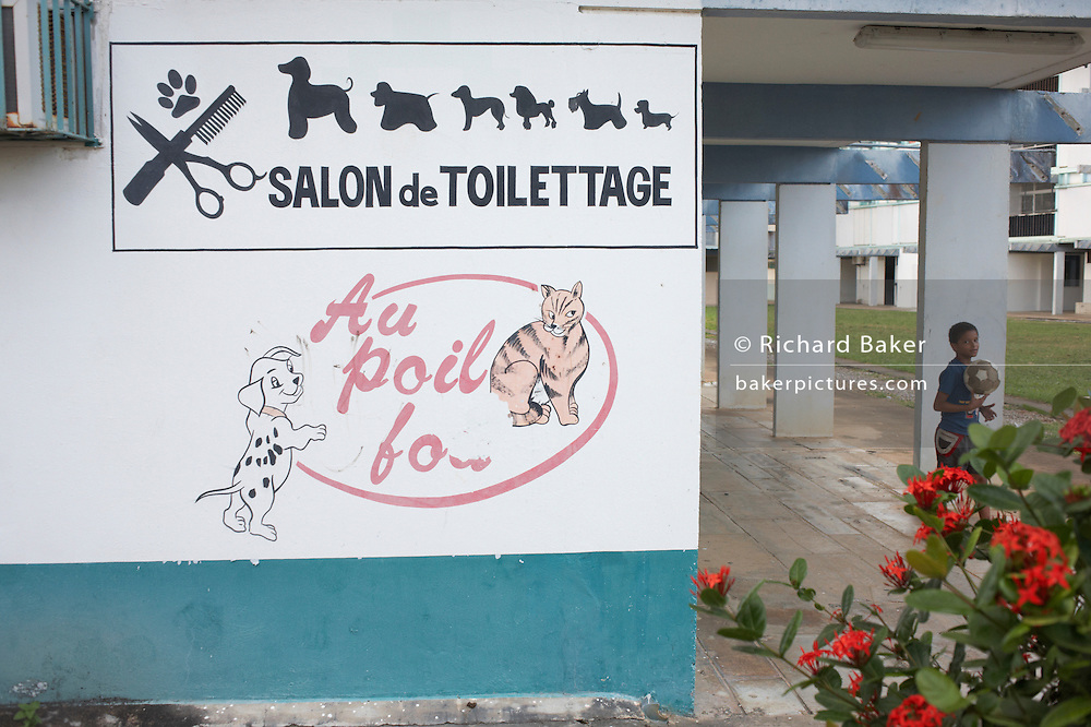 Odd wall advert for pet grooming and hairdressing in impoverished new quarter of Kourou in colonial French Guiana