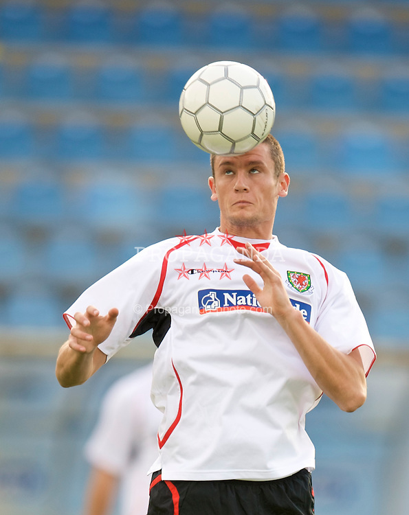 PODGORICA, MONTENEGRO - Tuesday, August 11, 2009: Wales' Owain Tudur Jones during a training session at the Gradski Stadion ahead of the international friendly match against Montenegro. (Photo by David Rawcliffe/Propaganda)