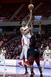 05 November 2017:  Phil Fayne shoots over Cristen Wilson during a Lewis College Flyers and Illinois State Redbirds in Redbird Arena, Normal IL