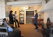 Kelly Bemus (from right) of Skogman Realty talks with Shelby Mochal, 16, Barb Mochal, and Shayla Mochal, 16, of Olathe, Kansas in the loft of a unit at Bottleworks Loft Condominiums, 905 3rd St. SE in Cedar Rapids on Saturday, February 18, 2012. (Stephen Mally/Freelance)