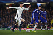 Paris Saint Germain attacker Javier Pastore (27) dribbling during the Champions League match between Chelsea and Paris Saint-Germain at Stamford Bridge, London, England on 9 March 2016. Photo by Matthew Redman.