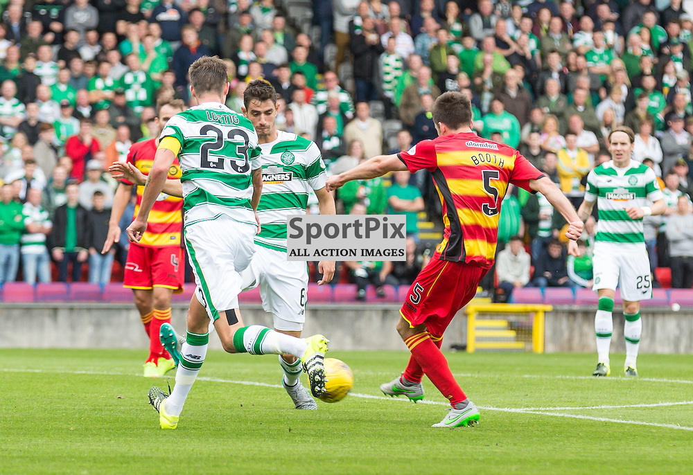 Callum Booth has a shot blocked by Nir Bitton during the Scottish Premiership match between Partick Thistle and Celtic (c) ROSS EAGLESHAM | Sportpix.co.uk
