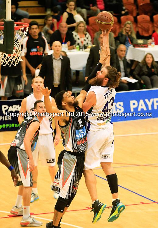 Ranger's Casey Frank puts up a shot. NBL basketball, Hawkes Bay Hawks  v Super City Rangers, PG Arena, Napier, New Zealand. Saturday, 18 April, 2015. Copyright photo: John Cowpland / www.photosport.co.nz
