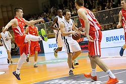 Matic Rebec vs Danijel Vujasinovic during Slovenian basketball All Stars Grosuplje 2013 event, on December 29, 2013 in Arena Brinje, Grosuplje, Slovenia. (Photo By Urban Urbanc / Sportida.com)