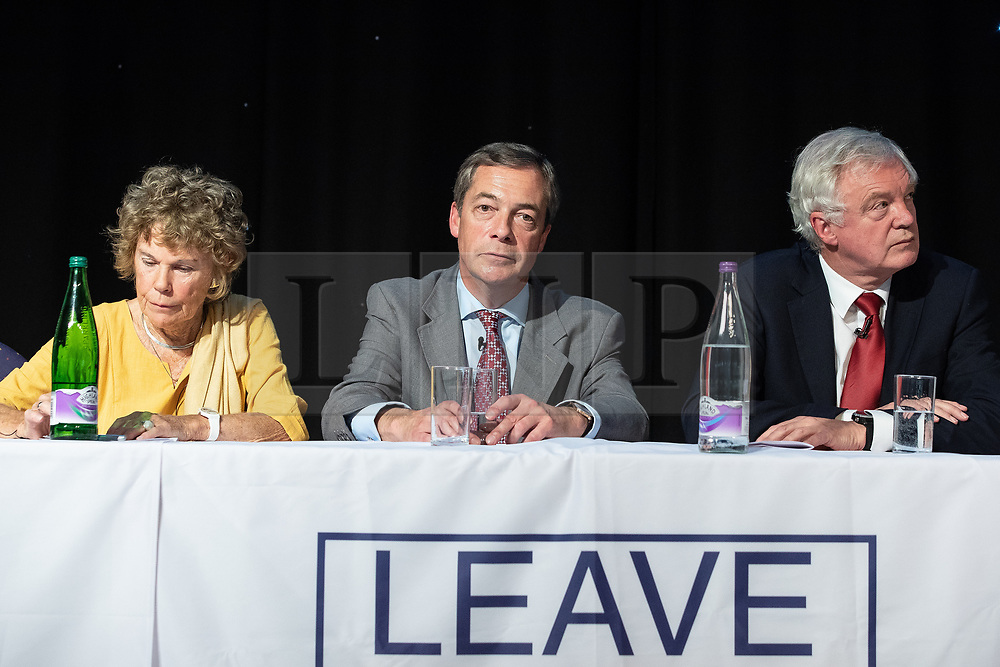 """© Licensed to London News Pictures . 22/09/2018. Bolton, UK. KATE HOEY , NIGEL FARAGE and DAVID DAVIS . Pro Brexit campaign group Leave Means Leave host a """" Save Brexit """" and """" Chuck Chequers """" rally at the University of Bolton Stadium , attended by leave-supporting politicians from a cross section of parties , including Conservative David Davis , former UKIP leader Nigel Farage and Labour's Kate Hoey . Photo credit: Joel Goodman/LNP"""