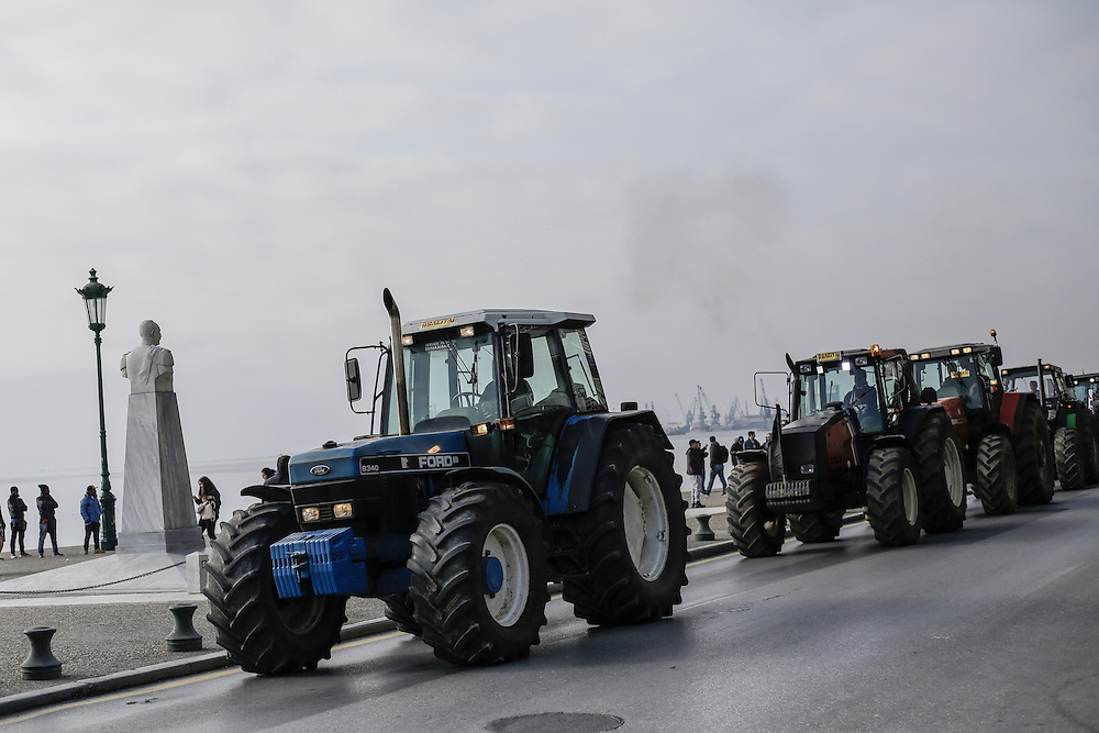 Farmers in their tractors during a march inside the city of Thessaloniki, Greece, on the 2nd of February 2017. Farmers from around northern Greece gathered in Thessaloniki during the opening of the Zootechnia international livestock to demonstrate against the austerity measures put by the Greek government.