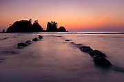 Shi Shi Beach and Point of Arches at dusk, Olympic National Park, Washington.