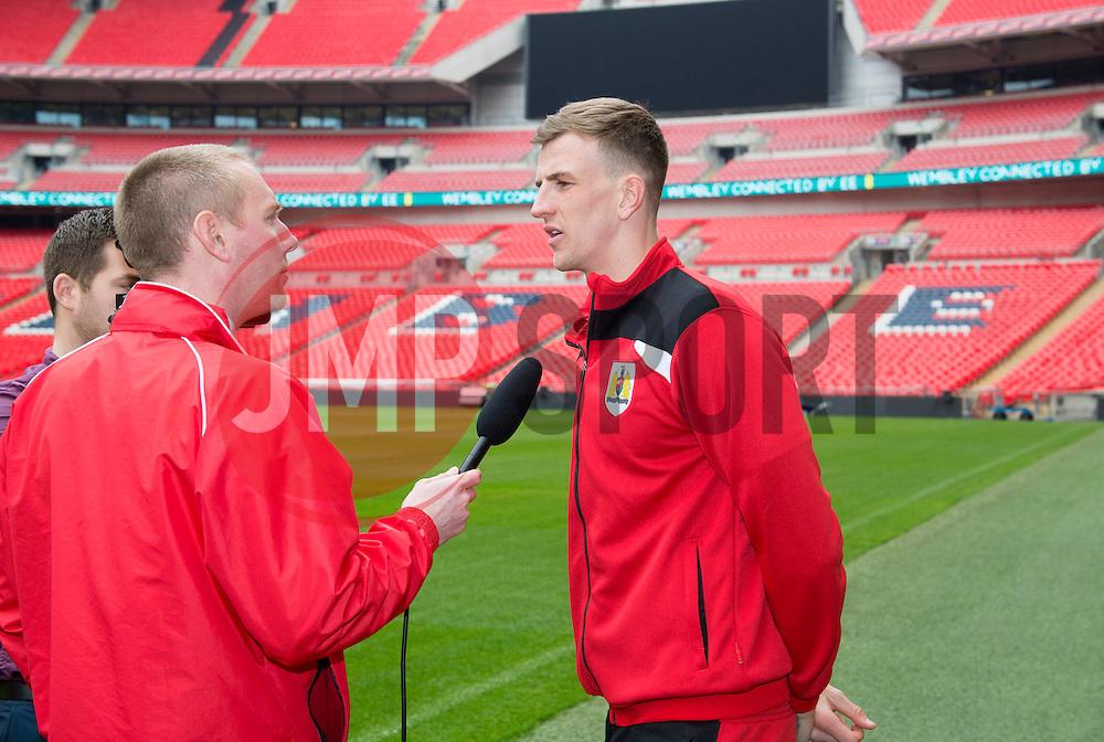 Bristol City's Aden Flint talks to the media  - Photo mandatory by-line: Joe Meredith/JMP - Mobile: 07966 386802 - 19/03/2015 - SPORT - Football - London - Wembley - Johnstone Paint Trophy