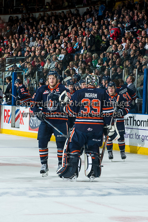 KELOWNA, CANADA - MARCH 31: Collin Shirley #15 and Connor Ingram #39 of the Kamloops Blazers celebrate a goal against the Kelowna Rockets on March 31, 2017 at Prospera Place in Kelowna, British Columbia, Canada.  (Photo by Marissa Baecker/Shoot the Breeze)  *** Local Caption ***