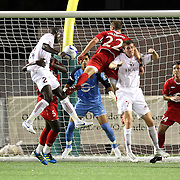 Richmond Defender Yomby William (2) tries to head the ball into the goal during the United Soccer League Pro American Division Championship soccer match between the Richmond Kickers and the Orlando City Lions at the Florida Citrus Bowl on August 27, 2011 in Orlando, Florida. Orlando won the match 3-0 to advance to the USL Pro Final.  (AP Photo/Alex Menendez)