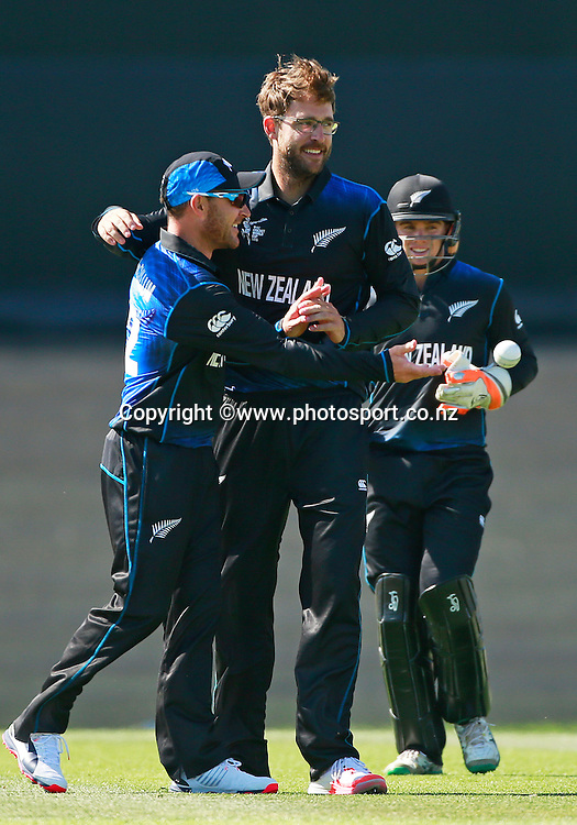Brendon McCullum of the Black Caps celebrates taking the catch to dismiss AB de Villiers of South Africa of the bowling of Daniel Vettori with Tom Latham at wicket keeper during the ICC Cricket World Cup warm up game between New Zealand v South Africa at Hagley Oval, Christchurch. 11 February 2015 Photo: Joseph Johnson / www.photosport.co.nz