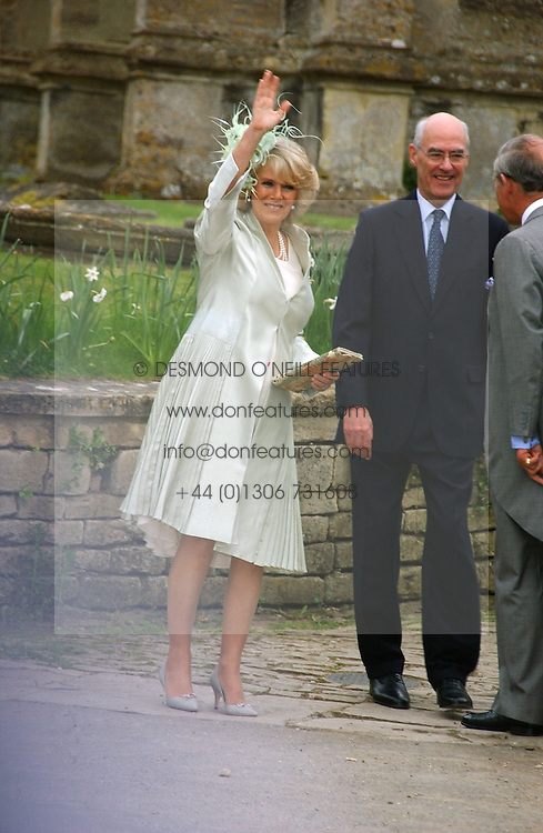 HRH The DUCHESS OF CORNWALL at the wedding of Laura Parker Bowles to Harry Lopes held at Lacock, Wiltshire on 6th May 2006.<br />