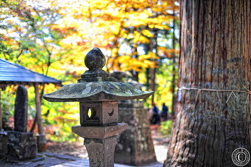 Japanese mountain shinto shrine in the fall, near Hirosaki in northern Japan.