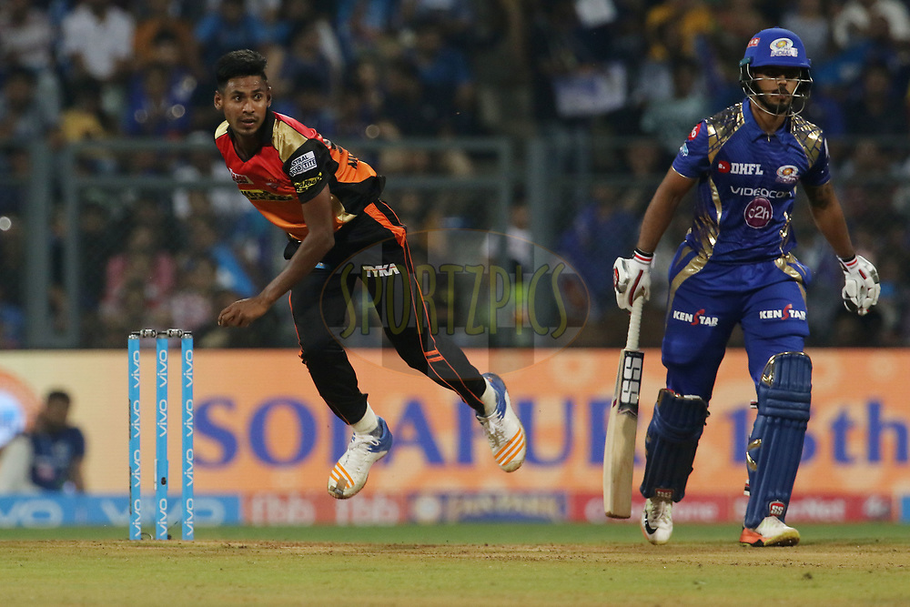 Mustafizur Rahman of the Sunrisers Hyderabad bowls during match 10 of the Vivo 2017 Indian Premier League between the Mumbai Indians and the Sunrisers Hyderabad held at the Wankhede Stadium in Mumbai, India on the 10th April 2017<br /> <br /> Photo by Vipin Pawar - Sportzpics - IPL