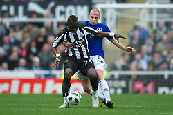 NEWCASTLE, ENGLAND - Saturday, March 5, 2011: Everton's John Heitinga and Newcastle United's Cheik Tiote during the Premiership match at St. James' Park. (Photo by David Rawcliffe/Propaganda)
