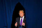 Republican presidential candidate Donald Trump pops out from behind the curtain during a watch party celebration for his Nevada caucus win at Treasure Island on Tuesday, February 23, 2016.   L.E. Baskow