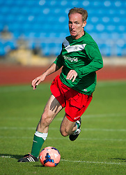 © London News Pictures. 21/09/2013 . Manchester, UK.  Labour MP JIM MURPHY taking part in a football match between Labour Members of Parliament and journalists in Manchester, on the opening day of the 2014 Labour Party Annual Conference, which is being held in Manchester. Photo credit : Ben Cawthra/LNP