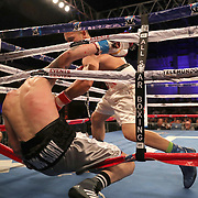 Jovan Perez gets knocked out by Julian Adrian Martinez during a Telemundo boxing match at Osceola Heritage Park on Friday, July 20, 2018 in Kissimmee, Florida.  (Alex Menendez via AP)