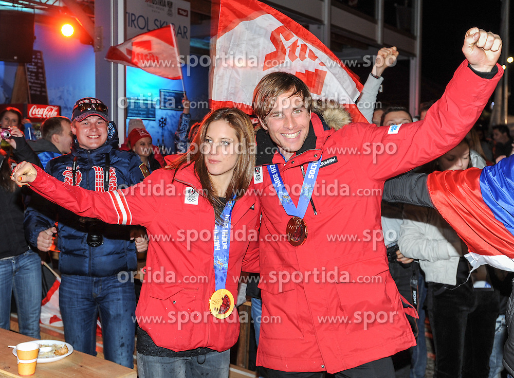 22.02.2014, Austria Tirol House, Sochi, RUS, Sochi 2014, Medaillenfeier, im Bild Olympiasiegerin Julia Dujmovits (AUT), Bronzemedaillen Gewinner Benjamin Karl (AUT) // olympic Champion Julia Dujmovits of Austria and  bronze Medalist Benjamin Karl of Austria during the medal party in Austria house Tyrol at the Olympic Winter Games 'Sochi 2014' at the Austria Tirol House in Krasnaya Polyana, Russia on 2014/02/22. EXPA Pictures © 2014, PhotoCredit: EXPA/ Erich Spiess