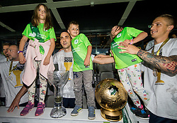 Branko Ilic of NK Olimpija celebrate with his 3 kids and a trophy after winning during football match between NK Aluminij and NK Olimpija Ljubljana in the Final of Slovenian Football Cup 2017/18, on May 30, 2018 in SRC Stozice, Ljubljana, Slovenia. Photo by Vid Ponikvar / Sportida
