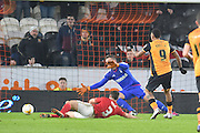 Hull City striker Abel Hernandez (9) takes a close range shot at goal but goes just wide  during the Sky Bet Championship match between Hull City and Nottingham Forest at the KC Stadium, Kingston upon Hull, England on 15 March 2016. Photo by Ian Lyall.