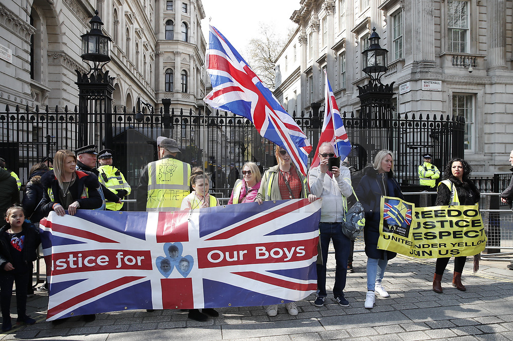 © Licensed to London News Pictures. 13/04/2019. London, UK. 'Yellow Vest' demonstrators and other supporters of Brexit block Whitehall opposite Downing Street, Westminster in London to protest at an extension to the UK's withdrawal from the EU. Earlier this week the EU granted British Prime Minster Theresa May an extension to the planned date the UK leaves the European Union. Photo credit: Peter Macdiarmid/LNP