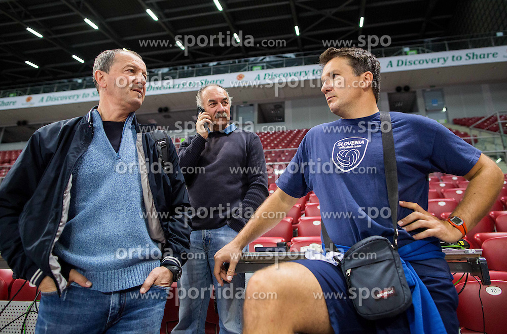 Marko Zadraznik, Marjan Fortin and Samo Miklavc during practice session of Slovenian National Volleyball team in the morning before Semifinal match against Italy at 2015 CEV Volleyball European Championship - Men, on October 17, 2015 in Arena Armeec, Sofia, Bulgaria. Photo by Vid Ponikvar / Sportida