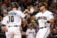 Aug 11, 2017; Phoenix, AZ, USA; Arizona Diamondbacks outfielder David Peralta (6) is congratulated by catcher Chris Herrmann (10) after hitting a two run home run in the fifth inning of the game against the Chicago Cubs at Chase Field. Mandatory Credit: Jennifer Stewart-USA TODAY Sports