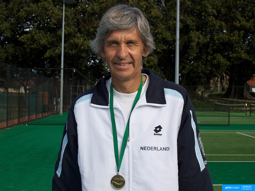 Han Adama Van Scheltema, Nederlands, 60 Mens Singles Winner during the 2009 ITF Super-Seniors World Team and Individual Championships at Perth, Western Australia, between 2-15th November, 2009.
