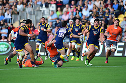 Ryan Lamb of Worcester Warriors off loads the ball to Val Rapava Ruskin of Worcester Warriors  - Mandatory by-line: Joe Meredith/JMP - 02/10/2016 - RUGBY - Sixways Stadium - Worcester, England - Worcester Warriors v Newcastle Falcons - Aviva Premiership