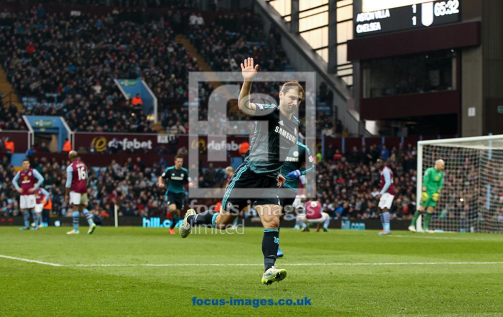 Branislav Ivanović (centre) of Chelsea celebrates scoring his sides second goal during the Barclays Premier League match at Villa Park, Birmingham<br /> Picture by Tom Smith/Focus Images Ltd 07545141164<br /> 07/02/2015