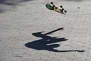 Central Park. New York, New York. United States. April 28th 2005..A skater's shadow in Central Park.