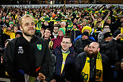 Norwich City forward Teemu Pukki (22) celebrates with the Norwich fans after the EFL Sky Bet Championship match between Norwich City and Blackburn Rovers at Carrow Road, Norwich, England on 27 April 2019.