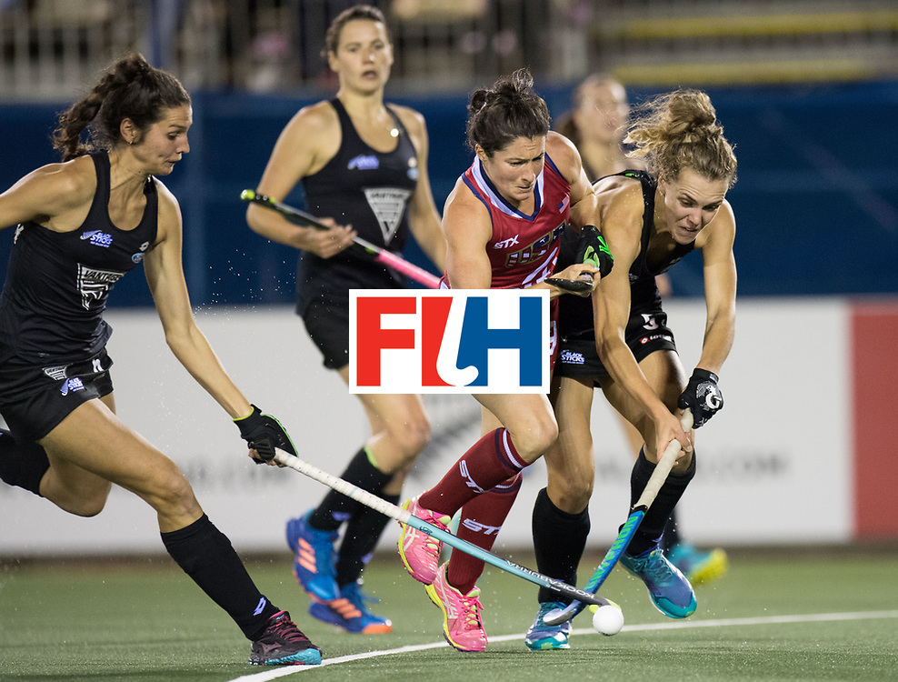 AUCKLAND - Sentinel Hockey World League final women<br /> Match id: 10300<br /> 10 New Zealand v USA<br /> Foto: Michelle Vittese blocked and get a stroke.<br /> WORLDSPORTPICS COPYRIGHT FRANK UIJLENBROEK