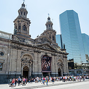 The front facade of the Metropolitan Cathedral of Santiago de Chile facing the Plaza de Armas.