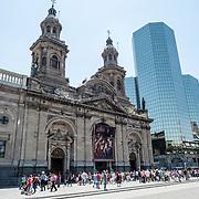 The front facade of the Metropolitan Cathedral of Santiago de Chile facing the Plaza de Armas.
